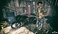 Patience ♫♪ (Murilo Tempest) Tags: noedition optmusrace volkstone tableauvivant jacket coffee sneakers moto motorcycle biker blogger blog slblogger slfashion slblog sl photograph photo photographer photoshop man men tempest murilotempest malepose maleclothes malehair hair facialhair
