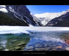 Louise Lake in Alberta, Canada :: P-HDR (Artie | Photography :: I'm a lazy boy :)) Tags: lake snow canada ski mountains nature water photoshop rocks cs2 alberta handheld lakelouise ricoh caplio r3 banffnationalpark artie photomatix tonemapping tonemap pseudohdr 1xp phdr