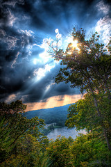 Eagle Point (Philerooski) Tags: light sky sun tree nature water sunshine river point landscape shine eagle pennsylvania lookout foliage lancaster rays fractals bushes vegitation hdr overprocessed eaglepoint eaglepointlookout