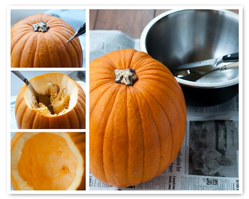 Carving out the pumpkin