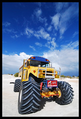 School Bus!! (K_BoT) Tags: travel blue sky sand nikon oz dunes australia perth wa schoolbus 2009 tyres monstertruck lancelin d80