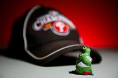 GO PHILS! (Redfishingboat (Mick O)) Tags: philadelphia hat toy bokeh praying playoffs phillies philly figurine kneeling worldseries mlb baseballcap phanatic hbw 2009worldseries philliesvsyankees