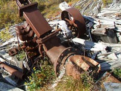 Walk around the Debris (Travis S.) Tags: sanfrancisco california wood camp mill water wheel metal alaska river movie gold belt video jake stamps debris 4 hill rusty august mining stamp clip canvas rusted unknown buckets nome pistons survey jensen tundra waterwheel prater rubble pelton 1903 stampmill concentrator woodwheel sewardpeninsula nomeriver stewartriver metalwheel machineworks sfcal joshuahendry stewartrivericepatchsurvey petlonwaterwheel northwesttowest jensenscamp praterconcentrator joshuahendrymachineworks aug41903
