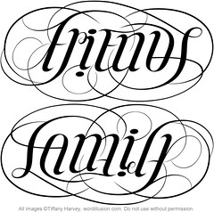 """Friends"" & ""Family"" Ambigram"