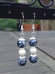 Snowflake obsidian and riverstone earrings