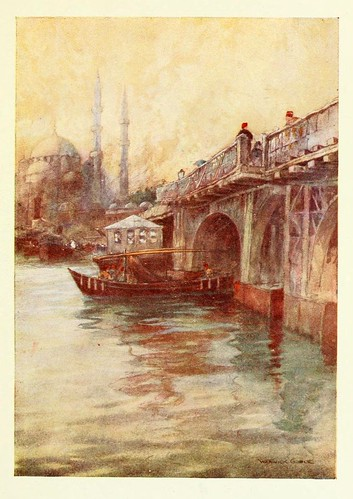 002-El puente de Galata- Constantinople painted by Warwick Goble (1906)