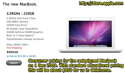 MacBook - consumer pricing 1 Dec 2009