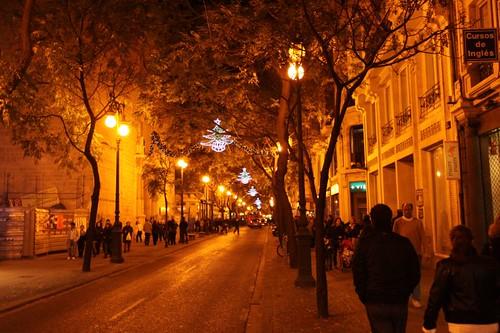 December street in Valencia.