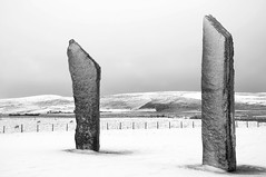 Stones of Stenness (bm^) Tags: uk travel winter white snow black tourism scotland orkney stenness nikon frost zwartwit unitedkingdom stones sneeuw zwart wit archeology neolithic schotland vo