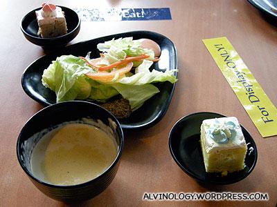 Desert, soup and salad