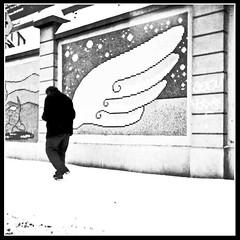 l'angelo della centrale del latte. (Buldrock) Tags: bw italy milan muro film angel italia milano lubitel neve neopan angelo capodanno nevicata passeggio 166 100iso barbone marciapiede pellicola innoallagioia vialetoscana
