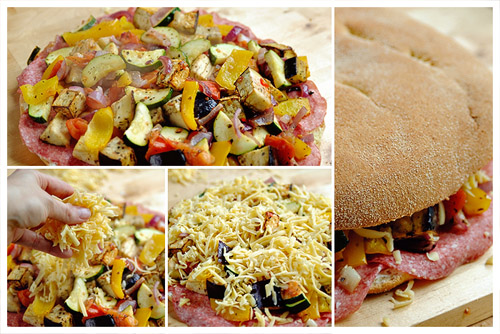 Roasted Vegetables & Salami Pide