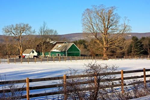 Green barn in Greenfield NY