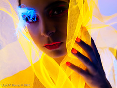 Glowing Portrait (Lloyd K. Barnes Photography) Tags: light portrait black blacklight mika taryn citrit lloydbarnes lloydkbarnes