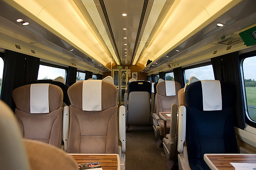 Interior of a First Class carriage, on the east coast railway in the UK