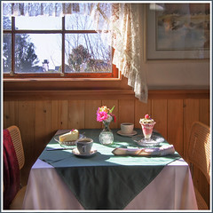 Rita Crane Photography: Table setting / Window / Sunlight / Desserts / Restaurant 955 Mendocino / Vintage / Teacups / Table for Two for Afternoon Tea, Mendocino (Rita Crane Photography) Tags: california stilllife window northerncalifornia taggedout square table dessert restaurant highwayone tea watertower stock artists mendocino historicpreservation tablefortwo stockphotography historicvillage mendocinocounty timefortea 500x500 nationalregisterofhistoricplaces ritacranephotography emmyloupackard tablesetfortea emmyloupackardshistoricartstudio historyofmendocino friendofdiegoriverafridakahlo 955restaurant restaurantmendocino