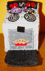 Stove Pincushion for Pretty Pretty Pincushion Swap (Sexy Breakfast) Tags: kitchen pie toy handmade sewing egg felt retro plush needle stove plushie pincushion cookin stuffie swapbot