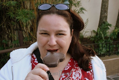 Enjoying my Mickey Ice Cream bar