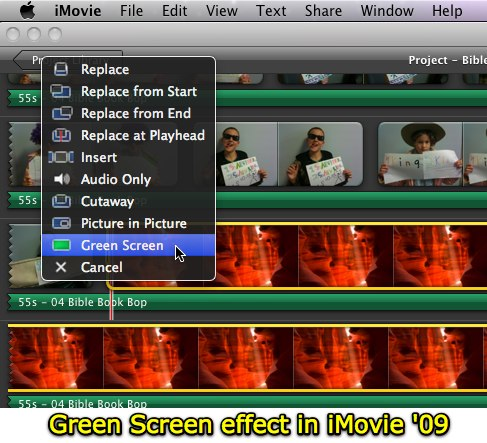 Green Screen effect in iMovie '09