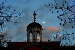 The moon and the trumpeter (Torsten Reuschling) Tags: park blue sky moon castle night dawn evening cloudy bluehour silhuette trumpeter silhuettes kalkum schlosskalkum mygearandmepremium mygearandmebronze