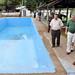 L-r: Jeff Dice, Phil Whipple, and Alan Simbo walk alongside the big pool.