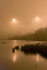 Foggy under the Bridge (547) (photography by jeff dixon) Tags: orange fog night reflections pond streetlight foggy wetland saultstemarie internationalbridge jeffdixon