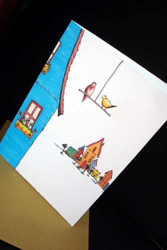The Bird's Village - note card