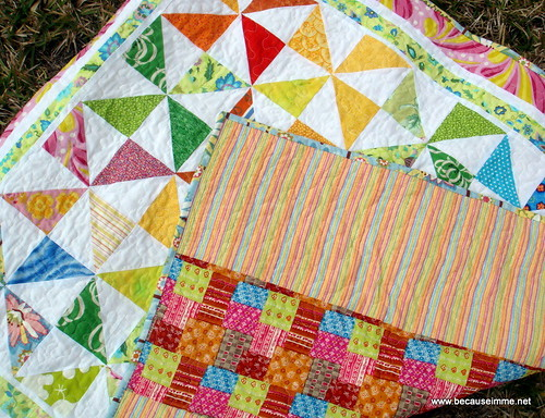 scrappy pinwheel quilt with back