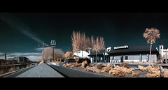 I am hating it. (Ral Villaln) Tags: longexposure panorama food photoshop geotagged ir pano fast panoramic mcdonalds filter infrared burguer channelmixer panormica falsecolour hoyar72 infrarrojos hamburguesera nikond40x ralvillaln