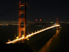 Red and Yellow (KingXII) Tags: sf sanfrancisco longexposure bridge light water night bay pacific goldengate fz50 pansonic