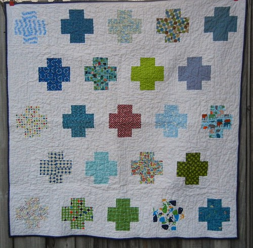 Finished Modern Crosses Baby quilt