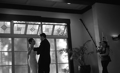 the grand production (troutfactory) Tags: california windows wedding blackandwhite bw usa film monochrome photography 50mm berkeley dance unitedstates kodak voigtlander rangefinder bayarea analogue firstdance 2009 nokton glamorous takingapicture weddingphotographer  bessat 400tmy bancrofthotel elevatedflash