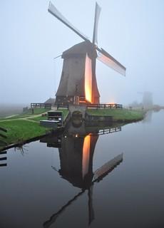 Misty mills in the dusk.