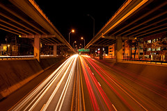 IH-35 at night (Viajante) Tags: urban austin highway texas unitedstates freeway lighttrail ih35