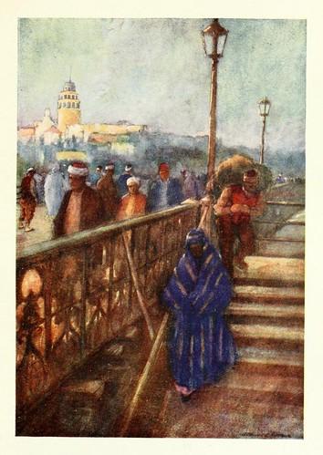 005-Torre de Gálata desde el puente- Constantinople painted by Warwick Goble (1906)