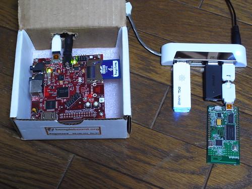 USBメモリ、WiFi、moxaを接続