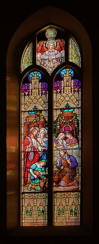 Saint Francis of Assisi Roman Catholic Church, in Aviston, Illinois, USA - stained glass window of the Wedding Feast at Cana