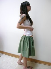 Reversible Skirt Green/Tan