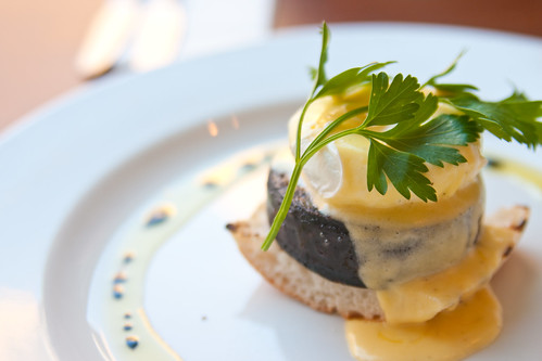 Black pudding and egg benedict