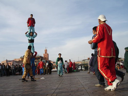 Photo of street acrobats in Jemaa el Fna Square Marrakech Morocco