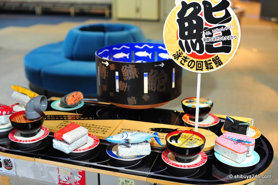 The Sushi set which makes up the moving picture show display.