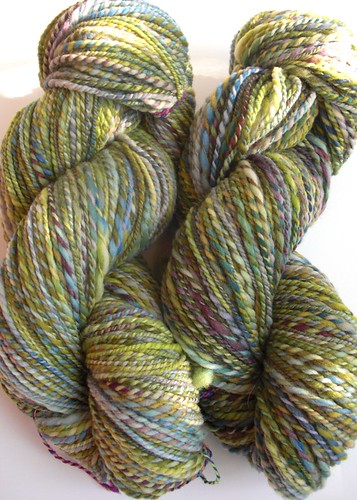 2 skeins Rambouillet yarn, total ~ 466yds, 8-10 WPI, 2-ply-4
