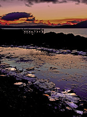 Broken Ice (g crawford) Tags: winter sunset sea cold reflection ice beach water pool reflections puddle evening coast scotland riverclyde clyde pier frozen rocks frost scottish sunsets frosty coastal pools beaches icy puddles crawford scots firth gloaming rockpools ayshire clydecoast portencross firthofclyde clydeestuary ayrshirecoast portencrosspier artizenhdr5xpsdisplaytonemapped