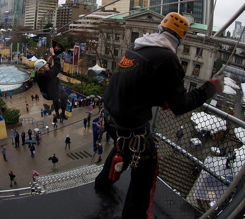 Riding the Robson St Zipline