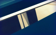 Skylight Patterns (Non Paratus) Tags: blue abstract building geometric glass lines metal architecture reflections nikon shadows geometry steel photoshopped curves angles beverlyhills geometricabstract paleycenterformedia coolpixp6000