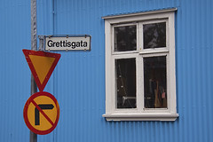 No right turn ahead (NRG Photos) Tags: blue house colour window architecture island iceland fenster haus reykjavik architektur blau sigurrs farbe trafficsigns verkehrsschilder wellblech grettisgata glsli corrugatedsheetmetal
