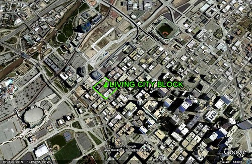 location of the Living City Block (image by Google Earth, marking by me)
