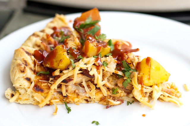 Barbecue Chicken Pizza with Grilled Pineapple and Speck