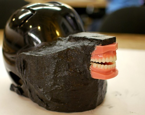 Painted mouth helmet 3/4 view