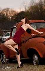Amanda Elizabeth (arielphotography) Tags: sunset red fashion truck canon model rust 580ex2 1dm2